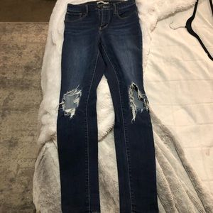 Levi's high rise distressed jeans